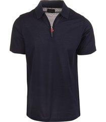 blue navy cotton half-zip polo shirt