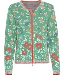 jacquard gebreid vest van bio-katoen met bloemmotief, groen-motief 44/46