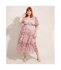 vestido de tule estampado floral plus size em camadas com botões midi manga bufante mindset multicor