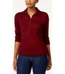 karen scott petite point-collar sweater, created for macy's