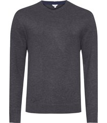 blusa masculina tricot decote v logo - cinza