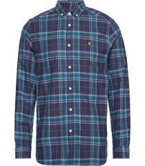check flannel shirt skjorta casual blå lyle & scott