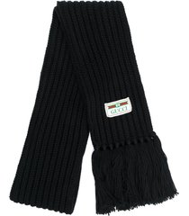 gucci ribbed scarf - black