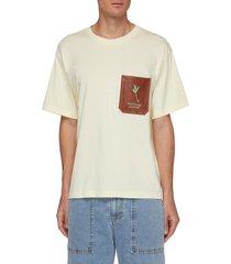 graphic print vegan leather patch pocket t-shirt