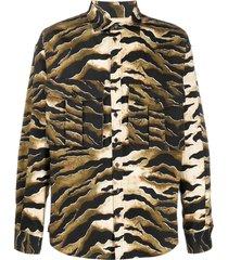 dsquared2 tiger-print cargo-pocket shirt - neutrals