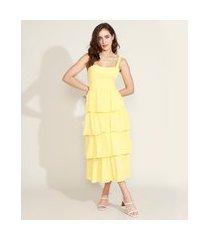 vestido feminino mindset midi em camadas alça média amarelo