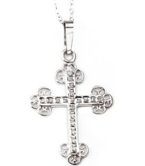 14k white gold necklace, diamond accent cross pendant