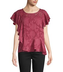 flutter-sleeve floral lace top