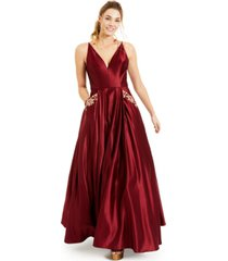 blondie nites juniors' embroidered-pockets deep v-neck satin ball gown, created for macy's