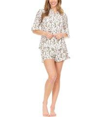 laundry by shelli segal women's lightweight mandarin collar button-up top matching shorts set