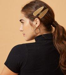 amaro feminino par presilha cabelo metal, dourado