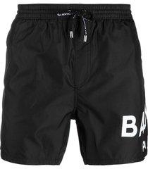 balmain logo-print drawstring swim shorts - black