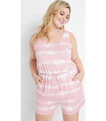 maurices plus size womens 24/7 pink tie dye romper
