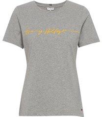 annie regular c-nk tee ss t-shirts & tops short-sleeved grå tommy hilfiger