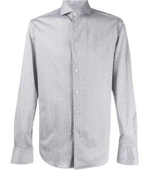 canali striped cutaway-collar shirt - grey