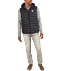 guess men's channel quilt puffer vest jacket