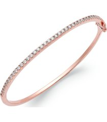 arabella 14k rose gold over sterling silver swarovski zirconia bangle bracelet (1-3/4 ct. t.w.)