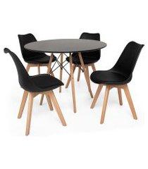 kit mesa jantar eiffel 90cm preta + 04 cadeiras leda - preta