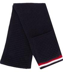 thom browne chunky-knit pocket-detail scarf - blue
