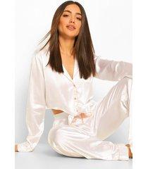 satijnen pyjama set met lange broek met strik, white
