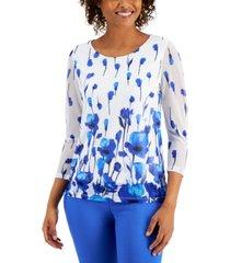 kasper petite floral-print mesh-sleeve top