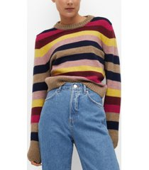 mango women's multi-colored knit sweater