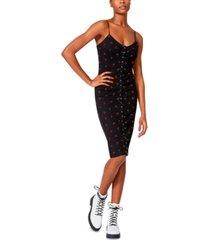 betsey johnson cherry-print snap-front midi dress