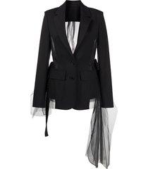 monse drawstring tulle-panel jacket - black