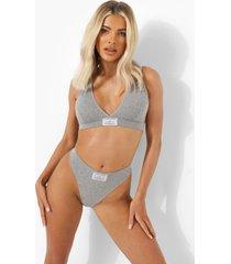 official geweven second skin string met label, grey