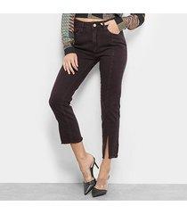 calça skinny mob sarja fenda cintura média feminina