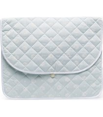 christian dior pre-owned diamond quilted beach clutch - blue