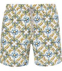 capri code swimsuit with yellow and light blue majolica print