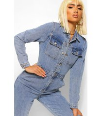 denim vintage wash jumpsuit met zakken, vintage wash