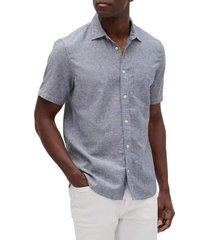 camisa lino blend manga corta azul gap