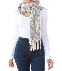 marcus adler women's willo leopard-print plush scarf - grey