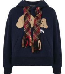 palm angels teddy bear logo hoodie - blue