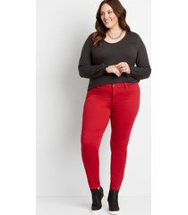 maurices plus size womens high rise red double button jegging made with repreve