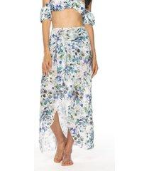 salida de baño falda larga estampada en malla – corpo swimwear-blanco