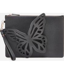 sophia webster women's flossy butterfly pouchette bag - black