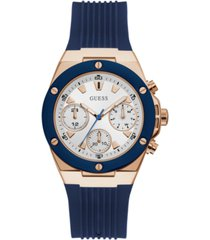 guess blue and rose gold-tone multifunction silicone watch 39mm