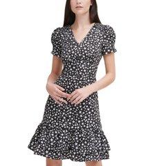karl lagerfeld paris star-print ruffle dress