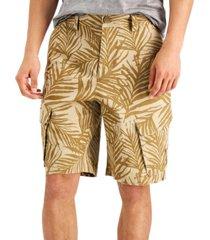 "sun + stone men's ainsley regular-fit stretch palm-print 8"" cargo shorts"