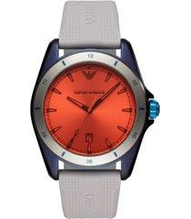 emporio armani men's gray silicone strap watch 44mm