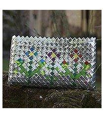 recycled metalized wrapper clutch handbag, 'garden flower' (guatemala)