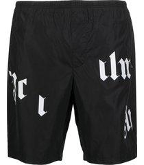 palm angels broken-logo swim shorts - black