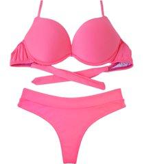 biquíni bojo bolha alça estreita divance calcinha fio dental cós duplo rosa euforia