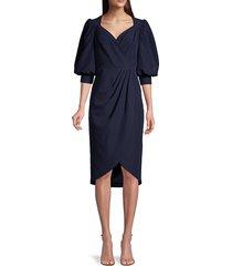 aidan mattox women's puff-sleeve cocktail dress - navy - size 0