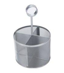 mind reader 4 section round steel mesh utensil holder with handle