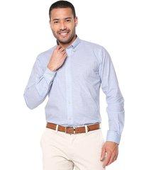 camisa blanco/azul preppy ml cfit cuadros bd