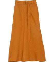 linen utility skirt in cinnamon
